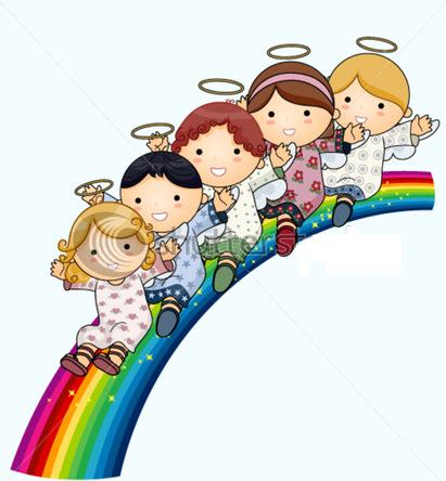 stock-vector-angels-on-rainbow-vector-45719023